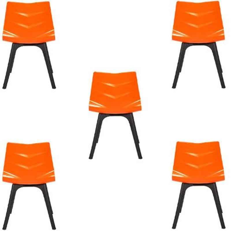 Regent Diamond Shell Plastic Black & Orange Chair (Pack of 5)