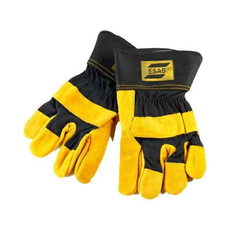 ESAB Yellow & Black Chrome Leather Heavy Duty Hand Gloves, Size: Standard