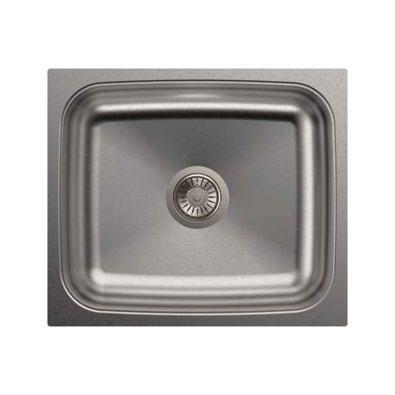 Carysil Elegance Single Bowl Stainless Steel Matt Finish Kitchen Sink, Size: 21x18x8 inch