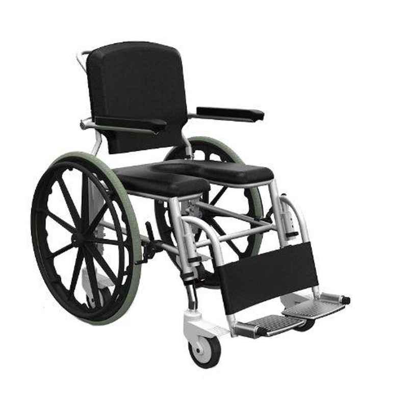 Frido Prime 41.3x25.7x34.7 inch Fully Waterproof & Rustproof Self Propelled Shower Commode Wheelchair, SSS100