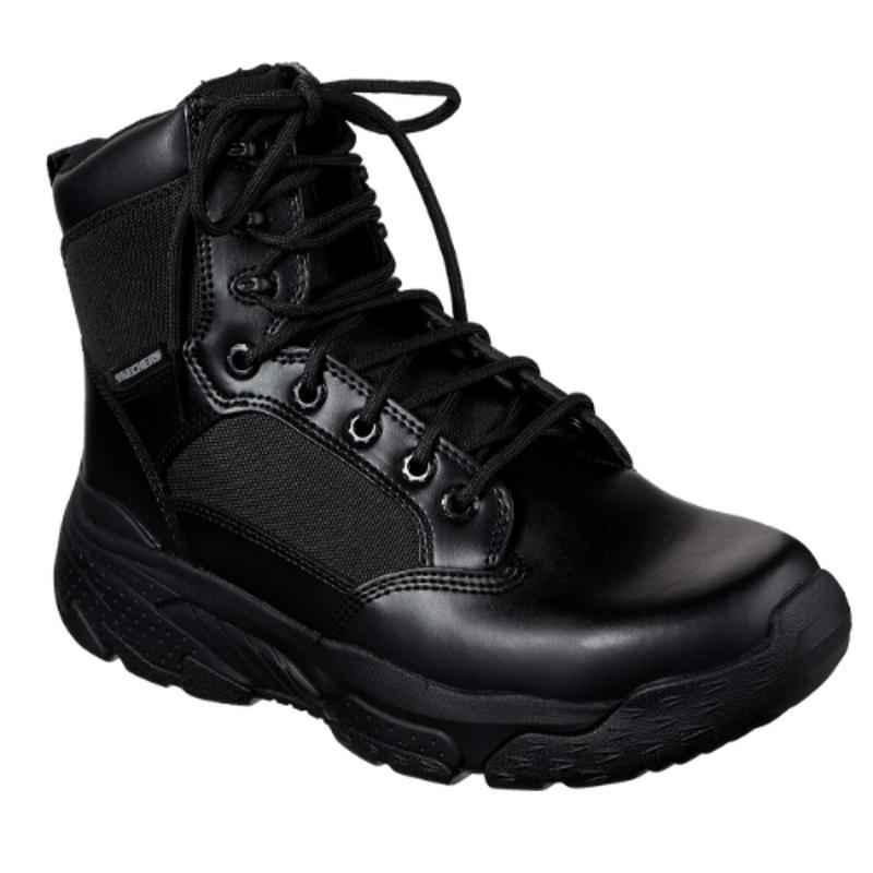 Skechers 77533 Leather without Steel Toe Black Tactical Safety Boots, Size: 8