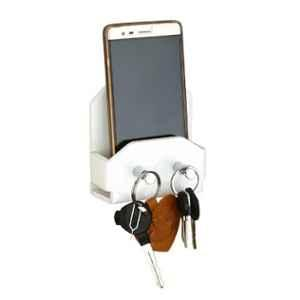 Axtry Wall Mounted Acrylic White Mobile Stand with Key Hooks for Home & Office