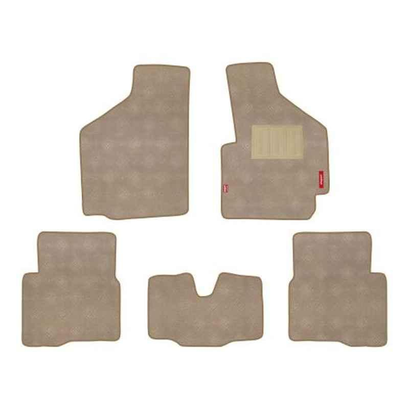 Elegant Miami 5 Pcs Polypropylene & Non Woven Red Carpet Car Floor Mat Set for Chevrolet Aveo