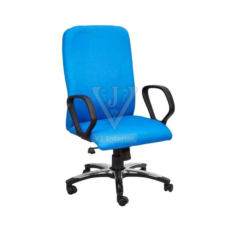VJ Interior 18.5x20 inch Blue Padded Fabric Revolving Executive Fabric Chair, VJ-1443