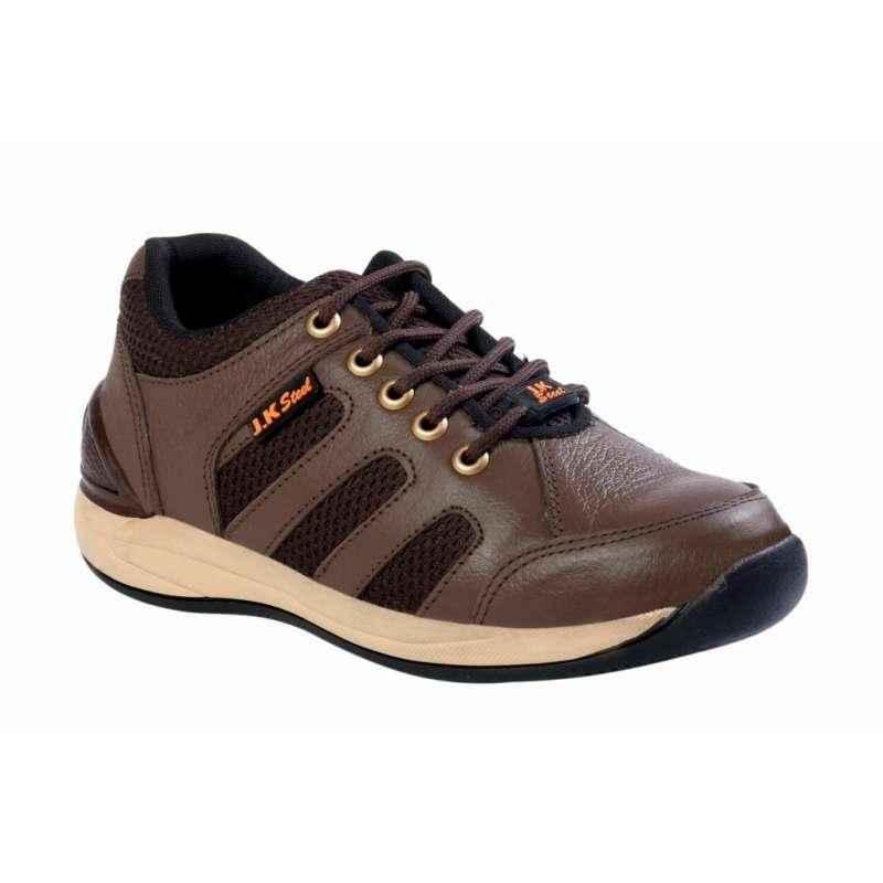 JK Steel JKPI007BN Steel Toe Brown Safety Shoes, Size: 7