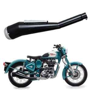 AllExtreme EX051 Chrome Tail Black Body Heavy Duty Multi Bend Cobra Silencer Exhaust with Glasswool & Filter