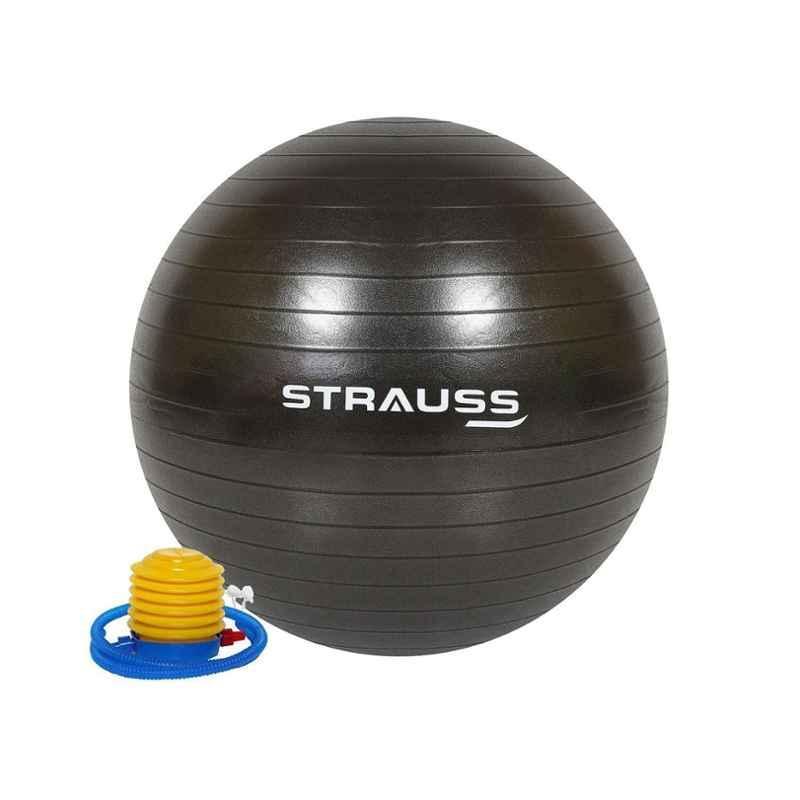 Strauss 75cm Black PVC Anti Burst Gym Ball with Foot Pump, ST-1480