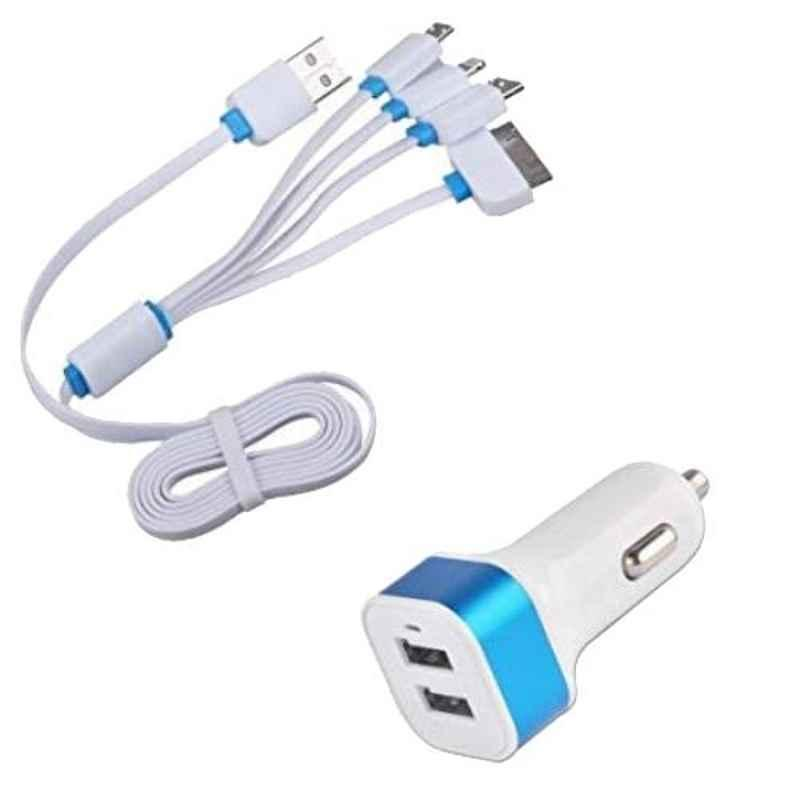 Viva City C-4 White & Blue Plastic USB Car Charger Adaptor With 4 Multicharging Cables