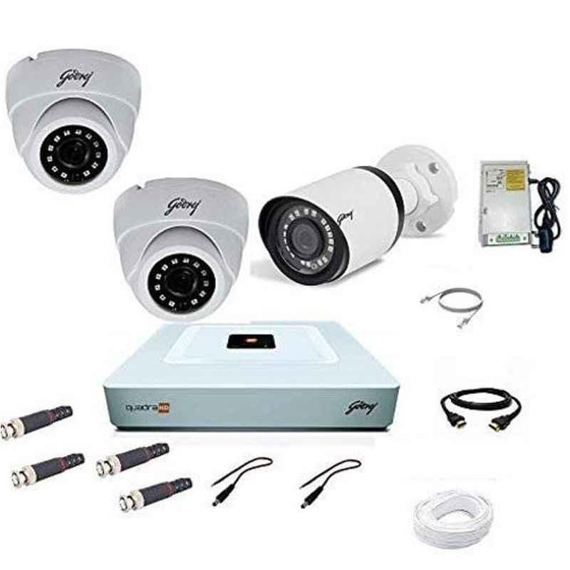 Godrej SeeThru 1080P Full HD White CCTV Camera Kit without Hard Disk, Godrej2MP2DOME1BULLET