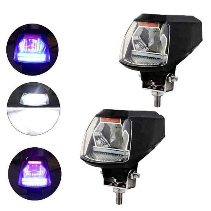 AllExtreme EXFLRB2 2 Pcs 20W Dual Red & Blue Angel Eyes Hi Low Strobe Beam Spot Fog Light with USB Mobile Charger Set