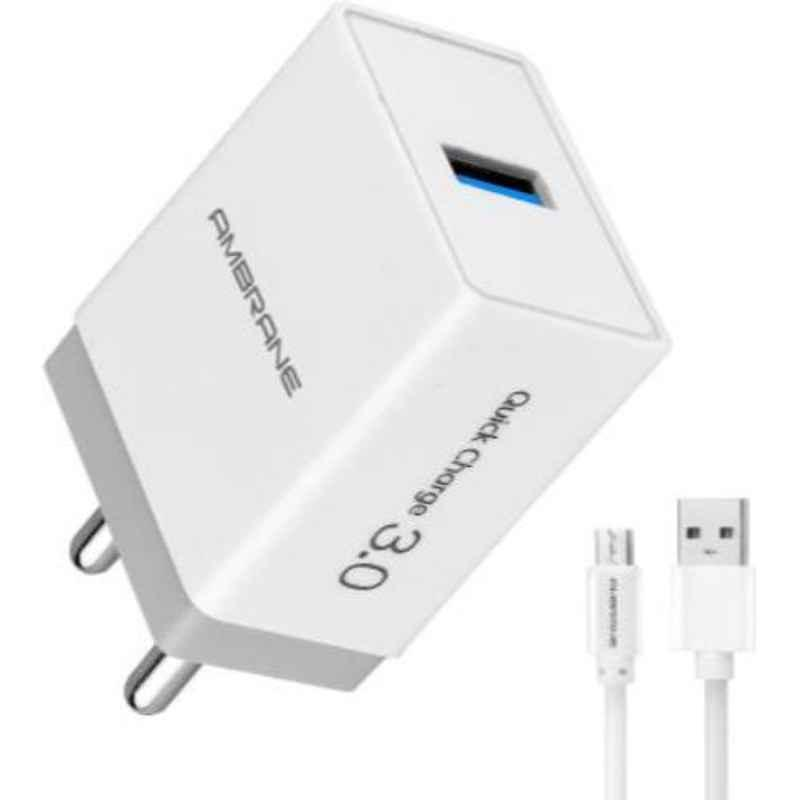 Ambrane AQC-56 3A White 3.0 Quick Mobile Charger with Detachable Cable