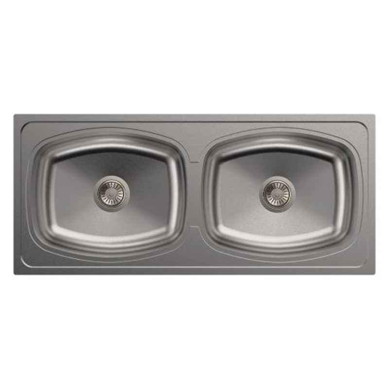Carysil Elegance Double Bowl Stainless Steel Gloss Finish Kitchen Sink, Size: 45x20x8 inch