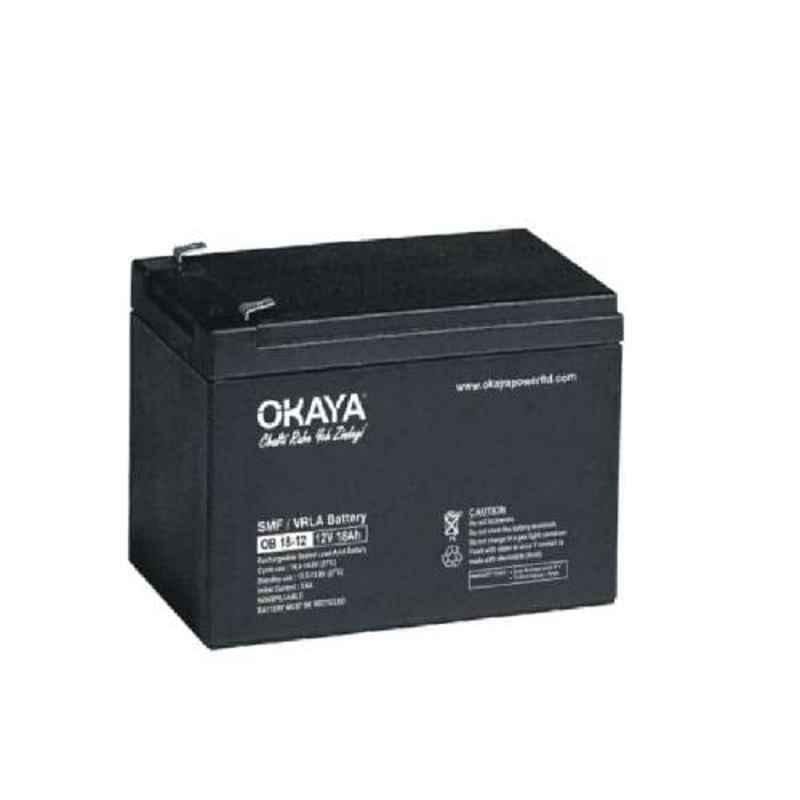 Okaya 12V 18Ah Rechargeable SMF or VRLA Battery, OB-18-12