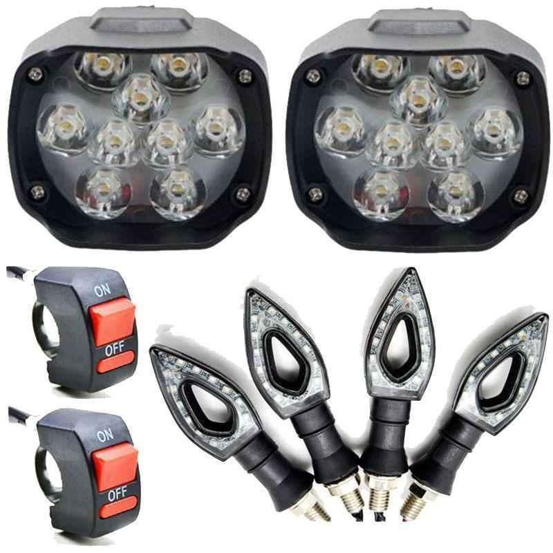 Eshopglee 2 Pcs 9 LED Fog Headlight with 2 Pcs On-Off Switch & 4 Pcs Pointer Indicator Light Set