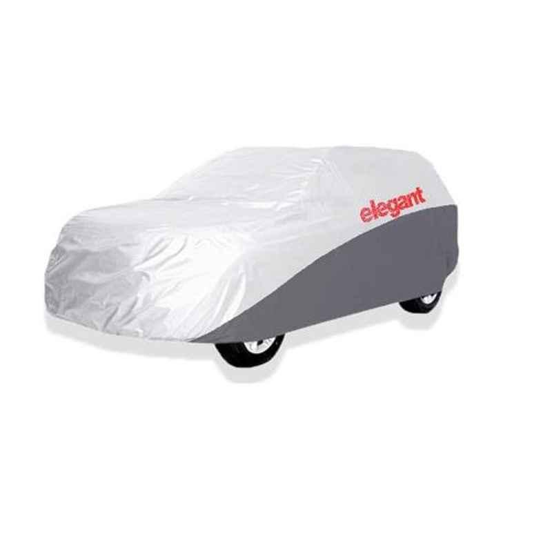 Elegant White & Grey Water Resistant Car Body Cover for Hyundai I10