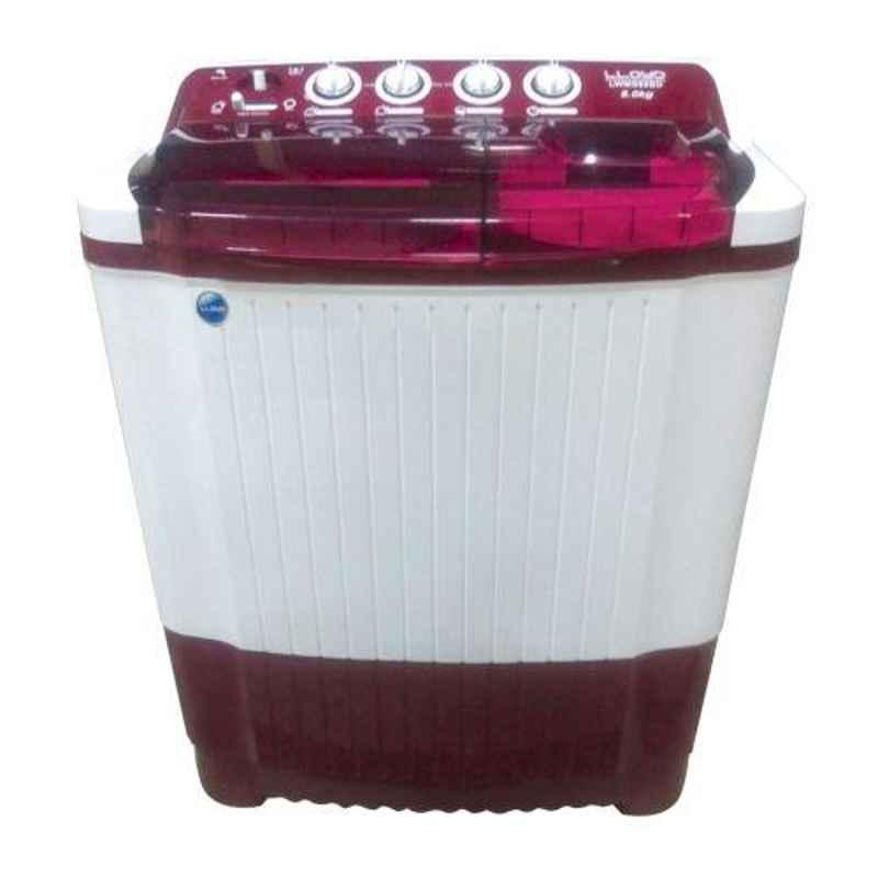 Lloyd Dynamo Clean 8kg Burgundy Semi Automatic Top Load Washing Machine, LWMS80BD