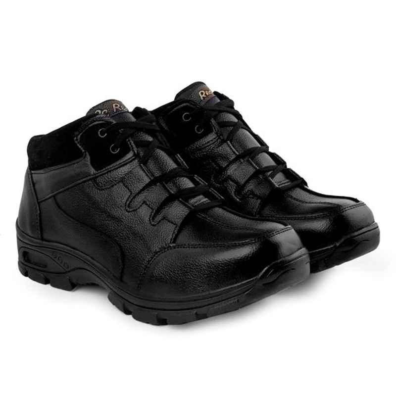 Red Can SGE1173BK Genuine Leather Steel Toe Black Corporate Casual Safety Shoe, Size: 10