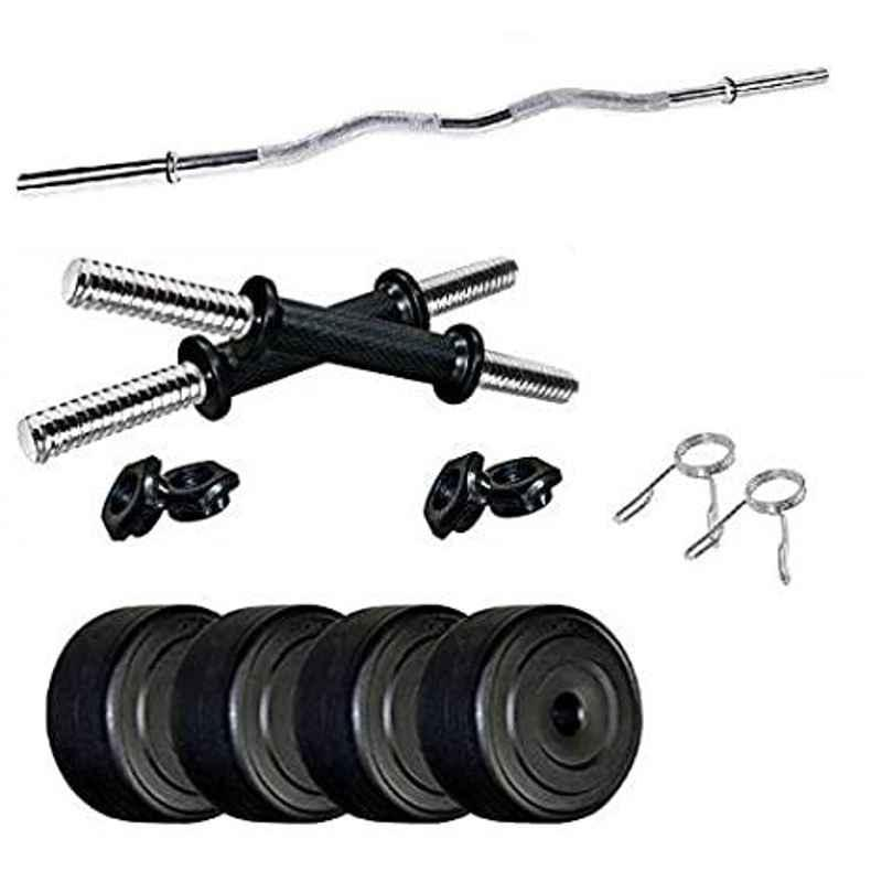 Spanco Multicolor Home Gym with 16kg PVC Weight Plates (25kgx4 = 10kg + 3kgx2 = 6kg) Curl Rod & Dumbbell Rods for Home Gym Exercise, Fitness & Weight Lifting, Body Shaping, Muscles Building