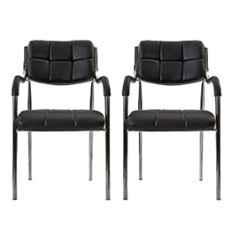 Da Urban Eclife Black Fabric & Foam Medium Back Visitor Chair with Arms (Pack of 2)