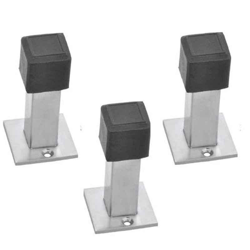 Nixnine Stainless Steel Back Silencer Door Stopper with Square Rubber Pad, SS_SQR_A-617_3PS (Pack of 3)