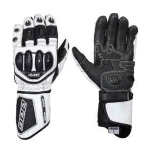 Biking Brotherhood White Leather Racer Gloves, Size: Large