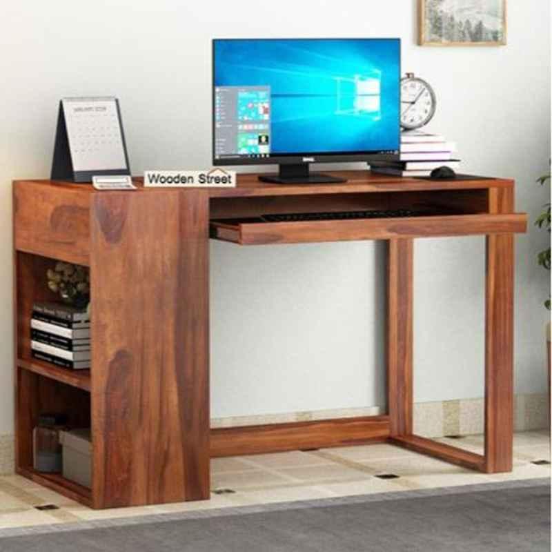 Salawas Arts 117x56x117cm Brown Sheesham Wood Honey Finish Study Table
