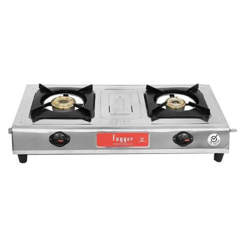 Fogger Gold Stainless Steel 2 Burners Manual Ignition Gas Stove, SBI00030