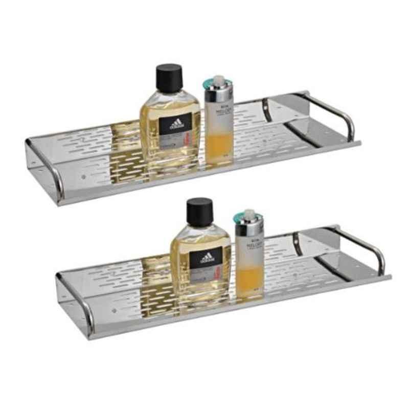 Drizzle 2 Pcs Stainless Steel Silver Shelves Set, ASHELVESTEEL2