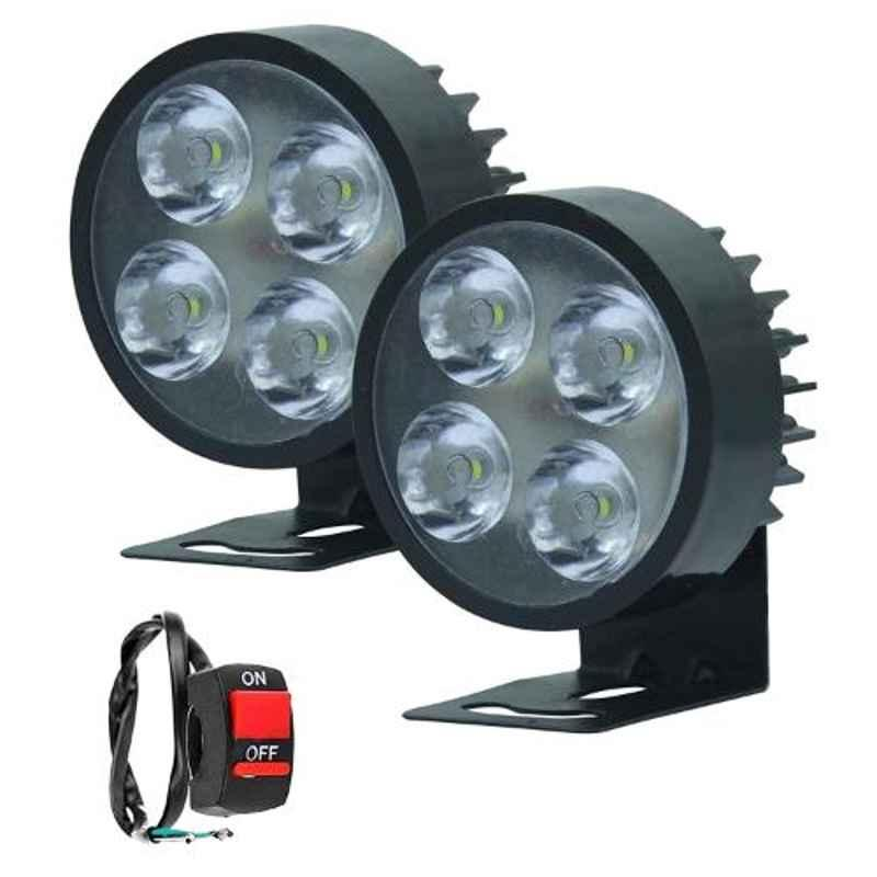 AllExtreme EX4L2PB 2 Pcs 4 LED 12W White Waterproof Small Round Fog Lamp Set with Mounting Bracket