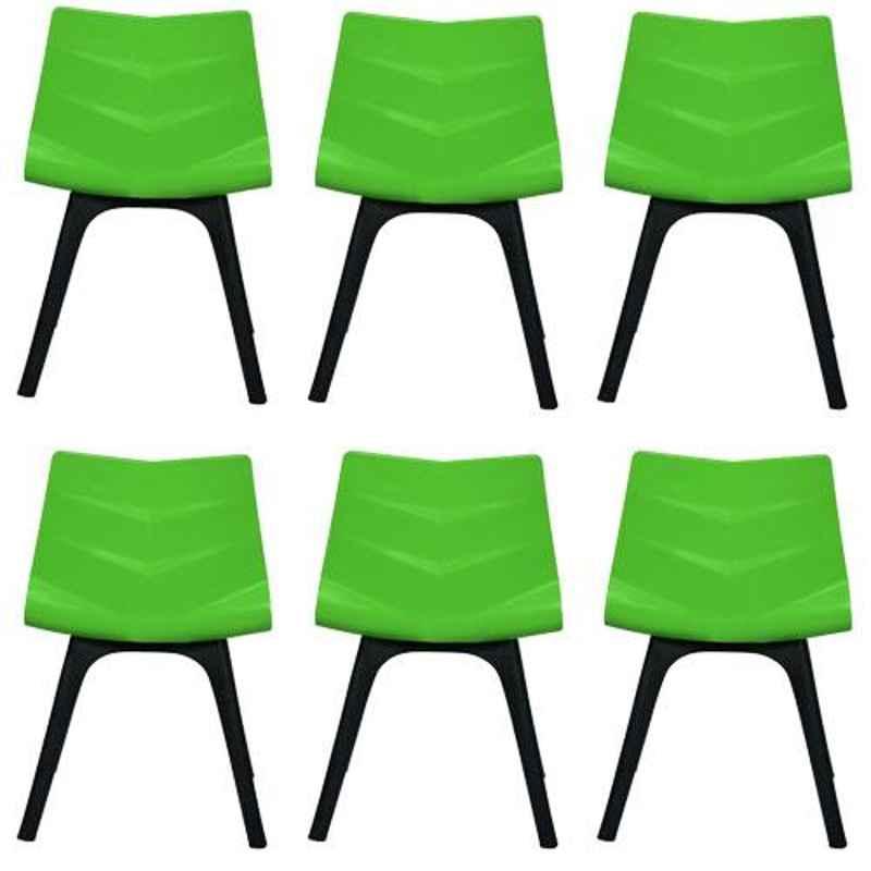 Regent Diamond Shell Plastic Black & Green Chair (Pack of 6)