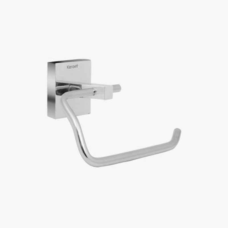 Kerovit Silver Chrome Finish Square Range Toilet Paper Holder without Flap, KA990008