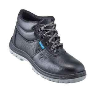 NEOSafe Helix A7025 High Ankle Steel Toe Black Leather Safety Shoes, Size: 11