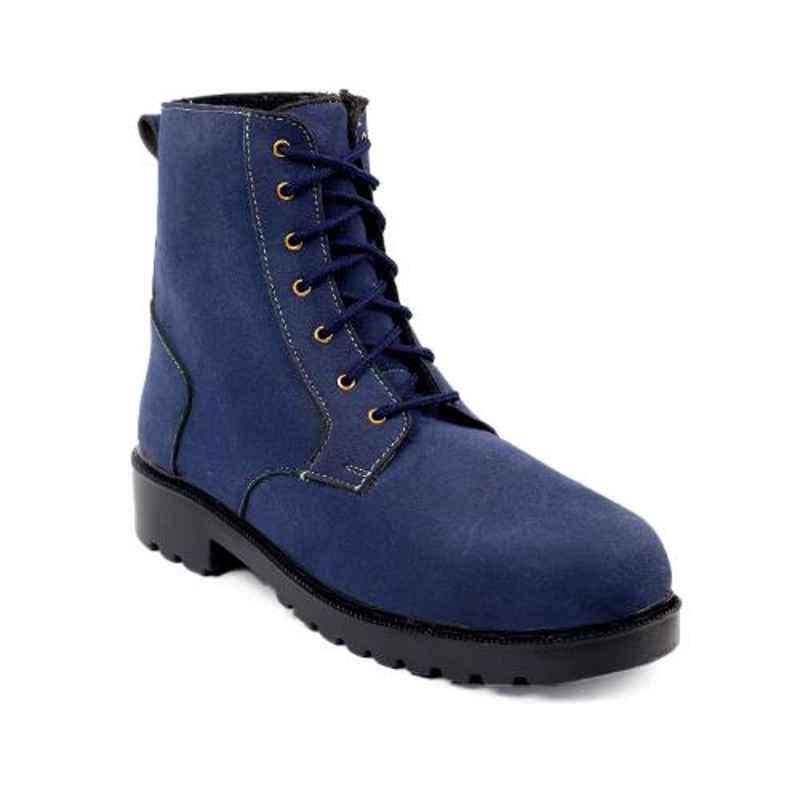 Woakers Synthetic Leather Steel Toe Airmix Sole Blue Safety Boots, Size: 6