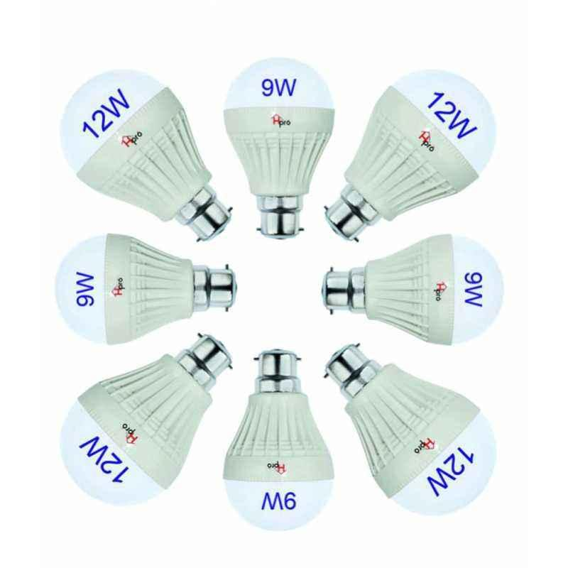 Homepro Combo of 4 Pieces 9W & 4 Pieces 12W White LED Bulbs
