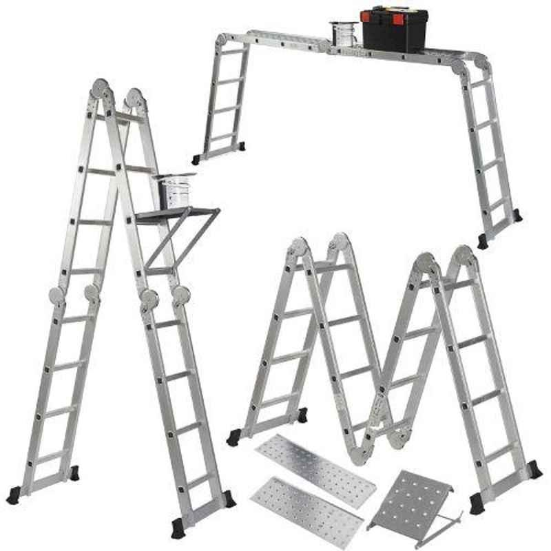 Champion 15.42ft Aluminium Silver Multipurpose Combination Ladder with Top Plates & Working Shelf