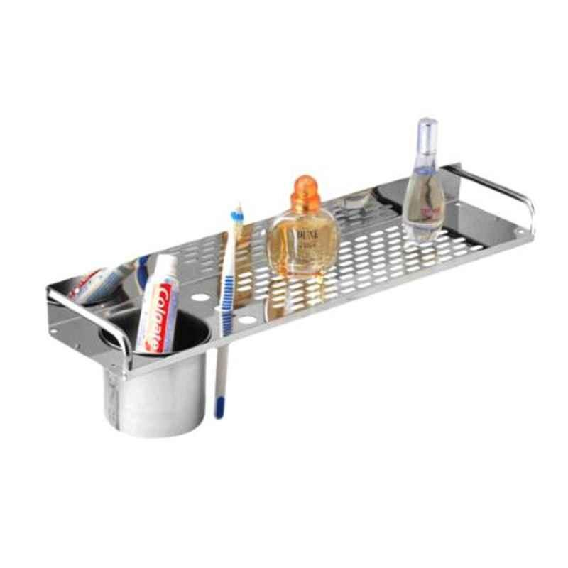 Drizzle 16 inch Stainless Steel Silver Shelves with Tumbler Holder, ASHELFHODSTEEL