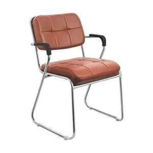Da Urban Homy Brown Fabric & Foam Medium Back Study Chair with Arms