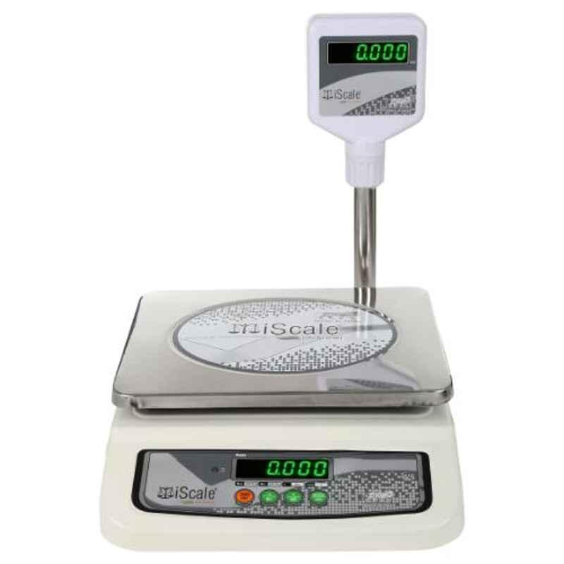 iScale i-05 20kg and 1g Accuracy Off-White Electronic Chargeable Weighing Scale with Pole and Green Colour Display