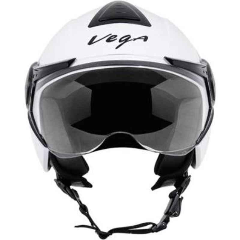 Vega Verve White Open Face Motorbike Helmet, Size (M, 570 mm)