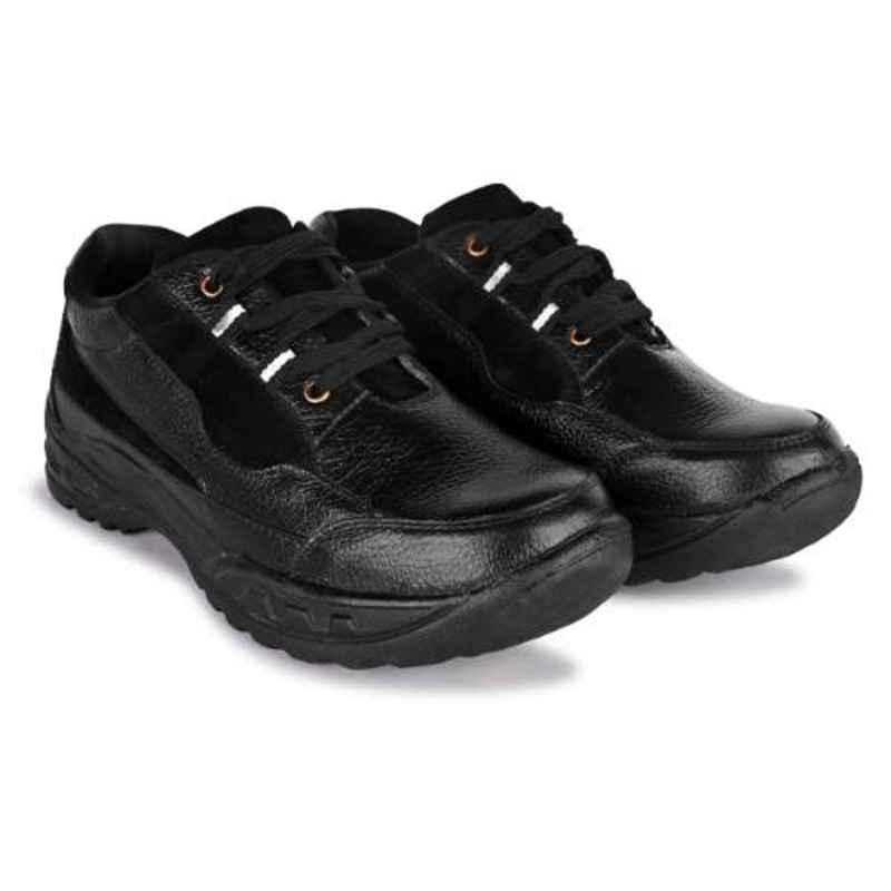 Trxxble 1103 Leather Steel Toe Black Safety Shoes, Size: 10