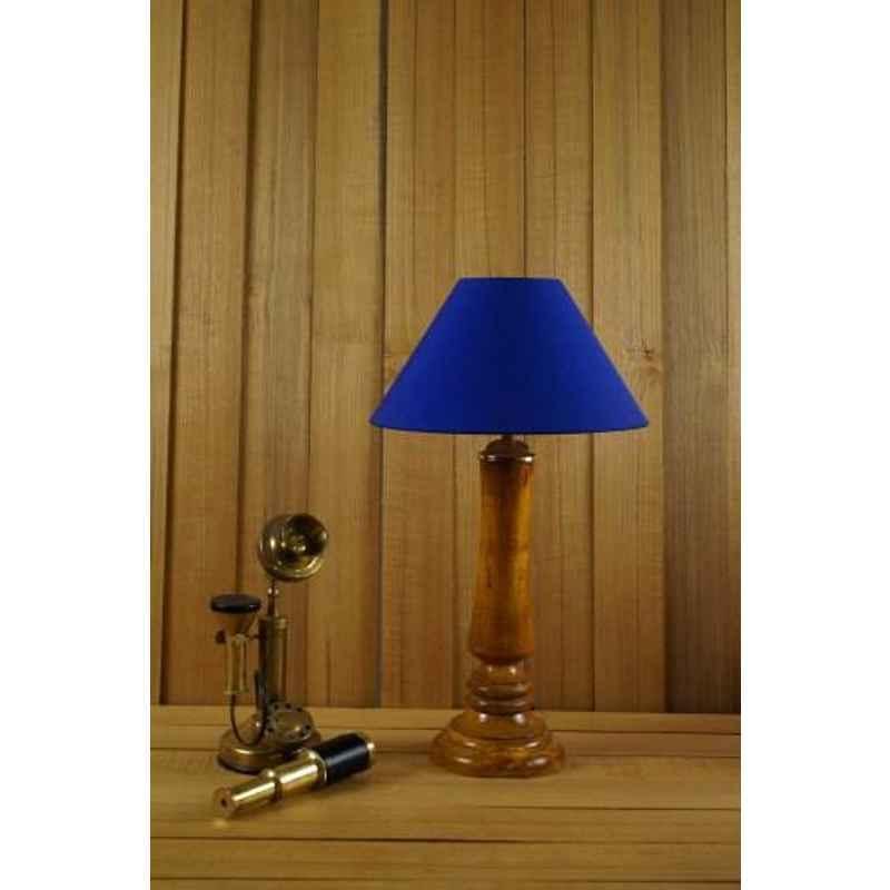 Tucasa Mango Wood Tan Table Lamp with 10 inch Polycotton Blue Pyramid Shade, WL-206