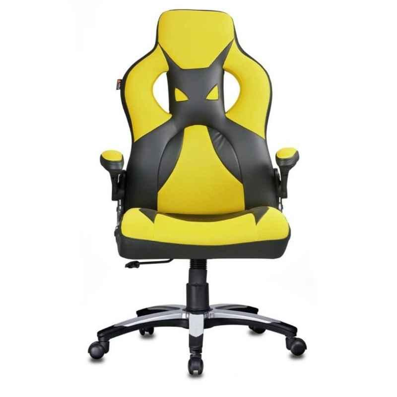 Caddy 27.5x17x46 inch Yellow & Black Leather Gaming Ergonomic Chair with Headrest, MISG8