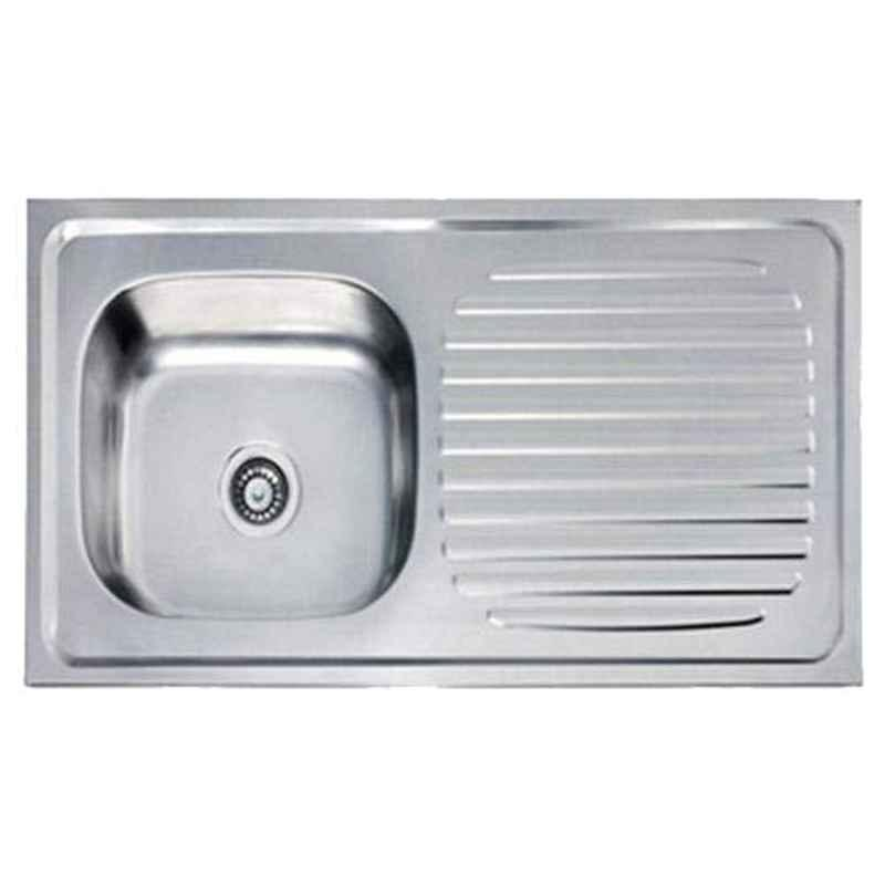Crocodile 32x20x8 inch Glossy Finish Stainless Steel Single Bowl Kitchen Sink with Drainboard