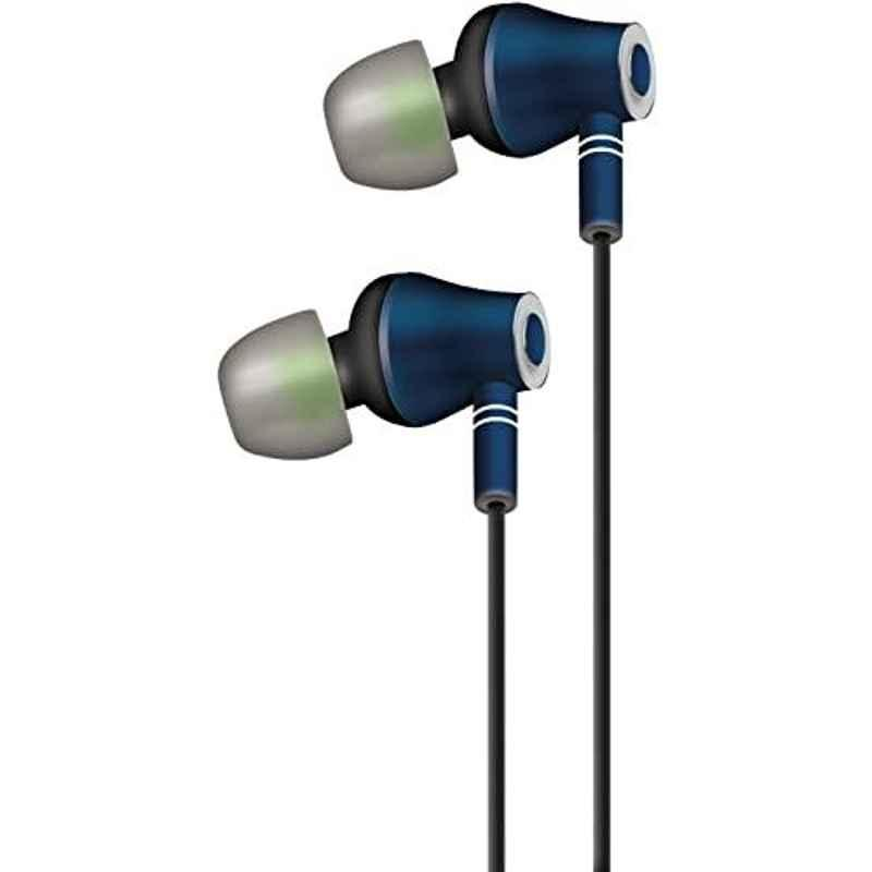 AT&T Metallic Navy In Ear Stereo Headphone with Mic, ED-NVY