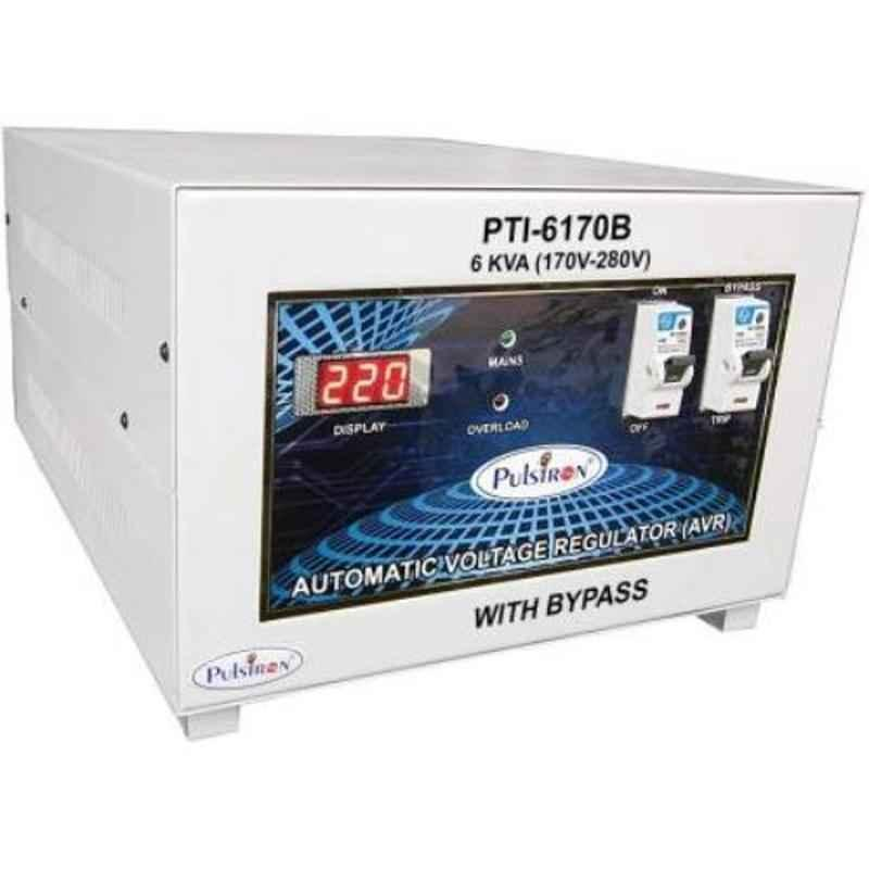Pulstron PTI-6170B 6kVA 170-280V Single Phase White Bypass Automatic Voltage Stabilizer for Mainline