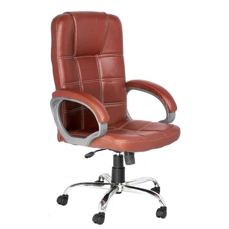 High Living Aries Leatherette High Back Brown Office Chair