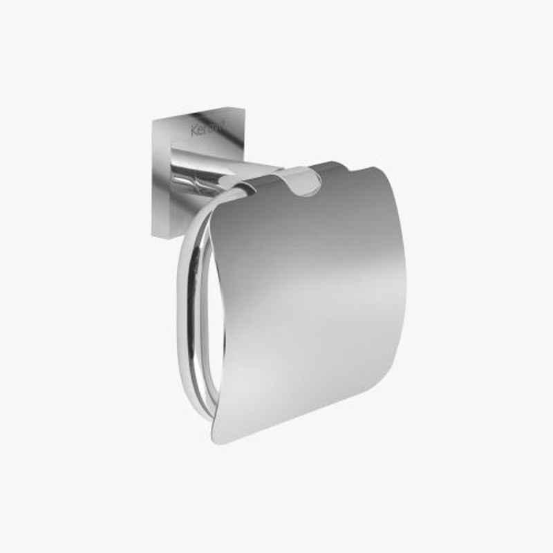 Kerovit Silver Chrome Finish Square Range Toilet Paper Holder with Flap, KA990009